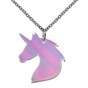 Irridescent Unicorn Silhouette Bust Pendant Necklace on Chain