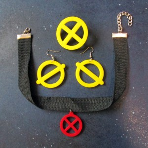 xmen jubilee cosplay jewelry set earrings necklace brooch