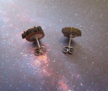 backside of Wooden Labyrinth Door Knocker Stud Earrings to show stud posts and clutch backs