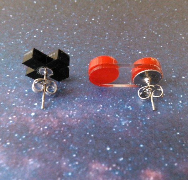 backside view of D-Pad Button Controller Earrings to show posts