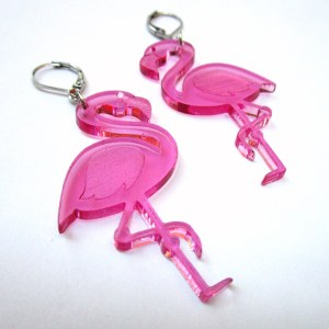 big pink flamingo luau hawaii beach party earrings