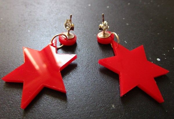 Sailor Mars Cosplay Earrings upside down so you can see the earring stud posts