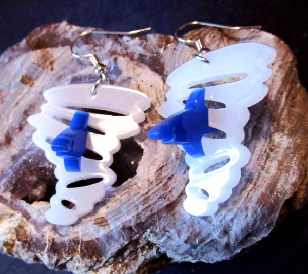 blue shark in tornado pendant earrings on rock