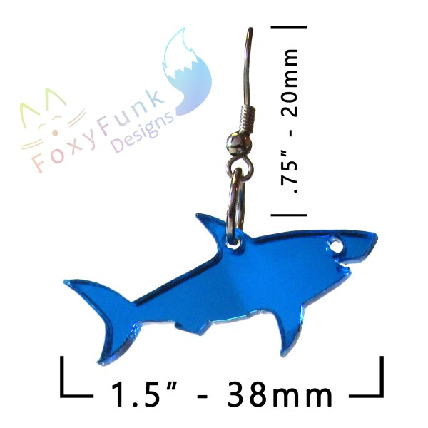 blue shark earring with white background with measurements and foxyfunk designs logo