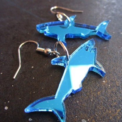zoom in close up of shiny blue shark pendant earrings