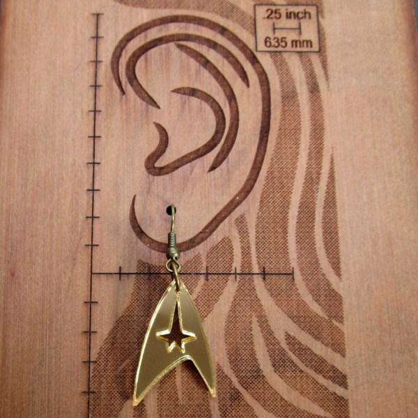 Star Trek Command Insignia Logo Telecom gold or silver dangle earrings jewelry