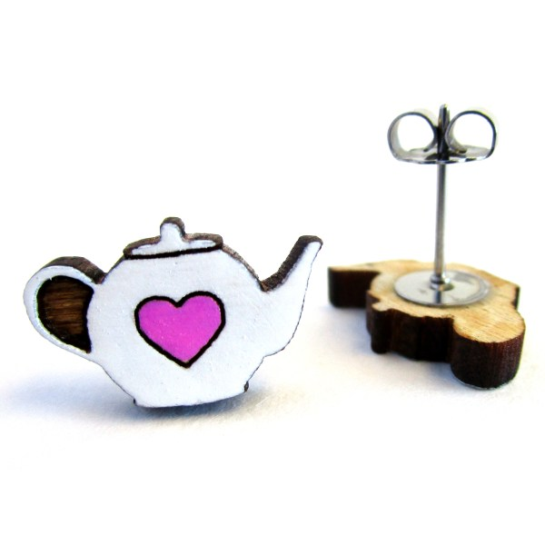 Tiny Heart Teapot Earrings one facing front to show detail and one on side to show stud post and clutch back