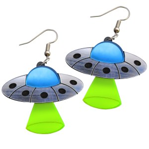 UFO flying saucer alien space ship ubduction beem dangle earrings fun neon rave earrings