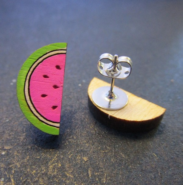 Mini Summer Watermelon Stud Earrings one upwards and one upside down to show stud post with clutch back