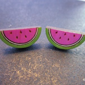 2 Mini Summer Watermelon Stud Earrings facing forward to show detail