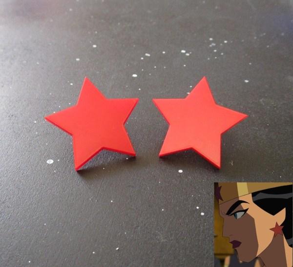 Wonder Woman Big Star Red Cosplay Stud Earrings