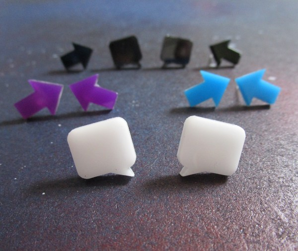 collection of small arrow and speech bubble stud earrings in multiple colors