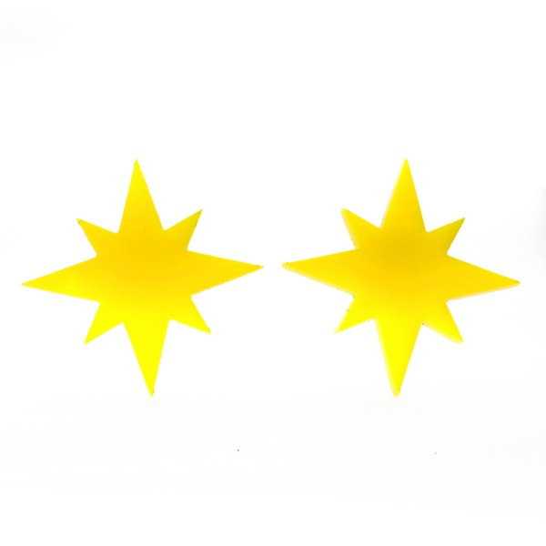 2 yellow 8 pointed star captain marvel cosplay earrings