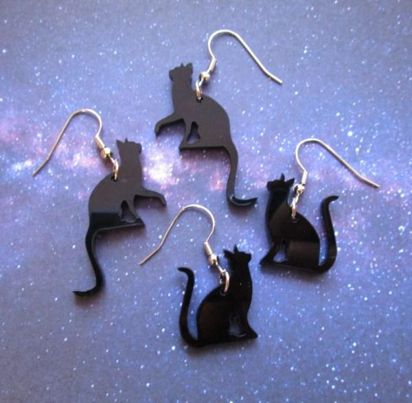 black cat silhouette earrings on french style hooks