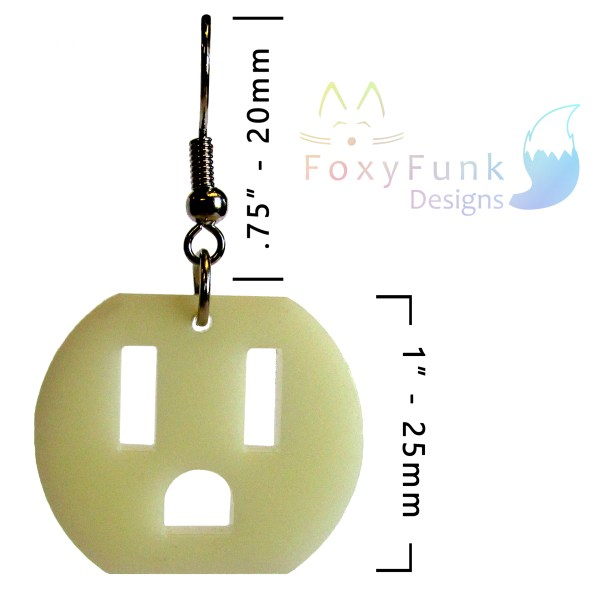 electric outlet shaped pendant earring floating on white background with measurments and foxyfunk designs logo