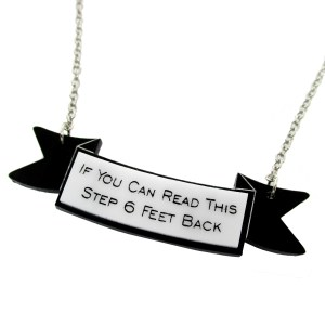 funny if you can read this steo feet back social distancing pendant necklace covid humor jewelry