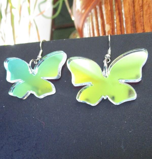 hanging on black board Iridescent Butterfly Wings Dangle Earrings