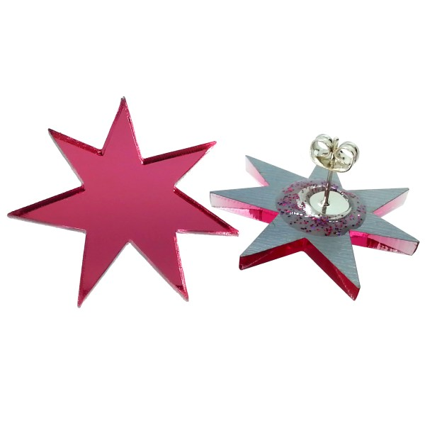 Jem Cosplay Pink Star Stud earrings on white background showing stud post