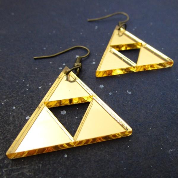 gold acrylic triangle triforce earrings