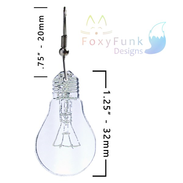 white background with one light bulb earring with measurements and foxyfunk designs logo in corner