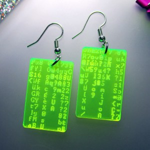 neon green coding coder programmer matrix code earrings