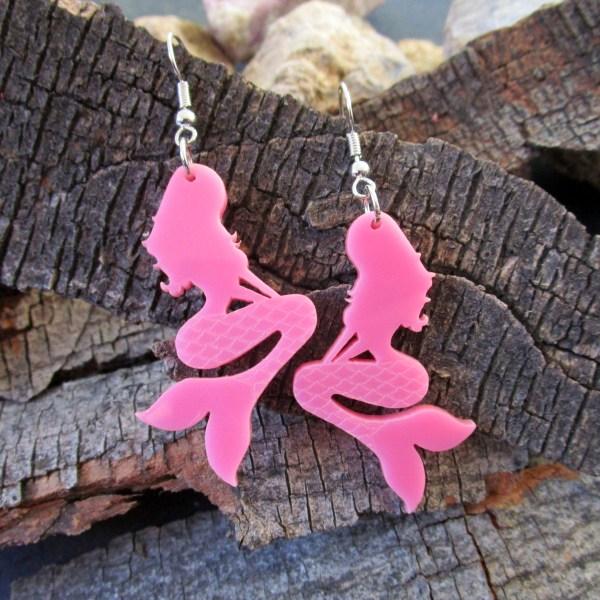 pink mermaid dangle earrings