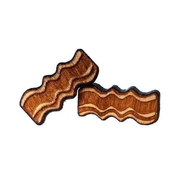 2 wood bacon stud earrings stacked on top of eachother