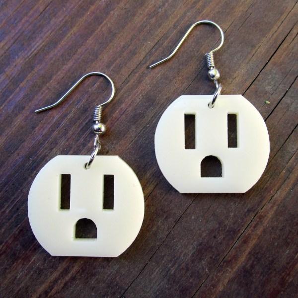 face up earrings of wall plug outlet pendant earrings