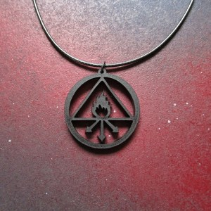 center shot of Constantine necklace with sulfur symbol pendant