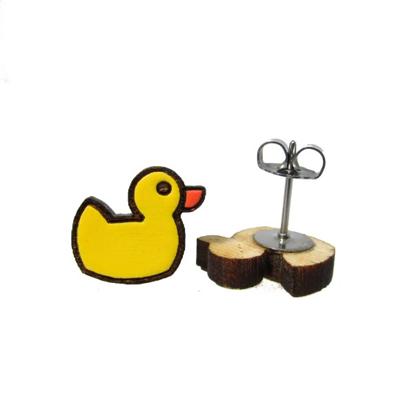 small wooden rubber ducky duckie hand painted funny cartoon stud earrings