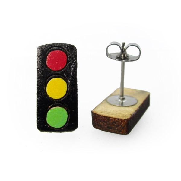 street traffic lights wood stud earrings facing forward and on side to show stud and clutch