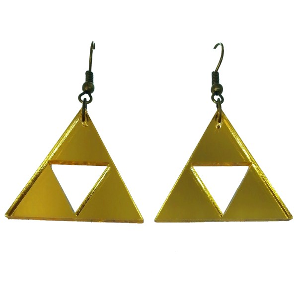 triforce 3 triangles golden dangle earrings on white background