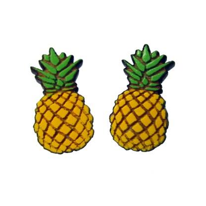 2 cute pineapple wood stud earrings facing forward to show detail