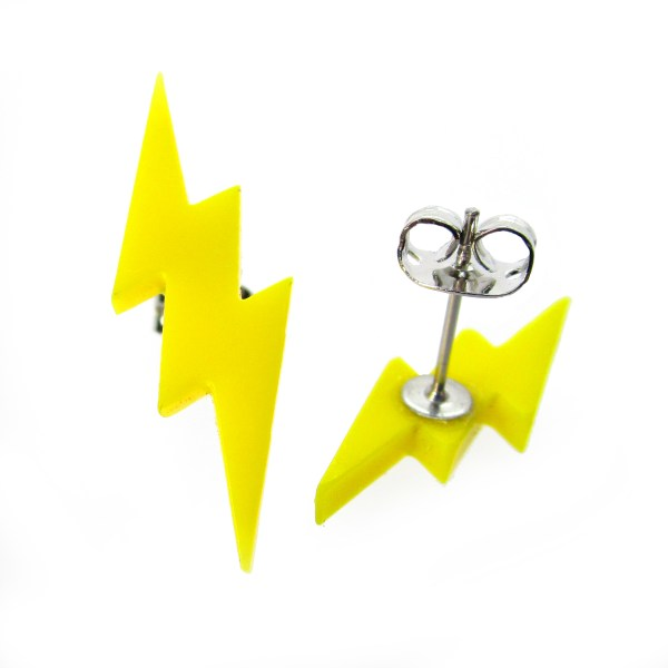 yellow lightning bolt stud earrings showing post and butterfly clasp
