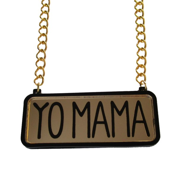 yo mama text pendant on gold chain with white background