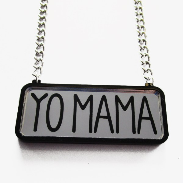 yo mama text pendant on silver chain with white background