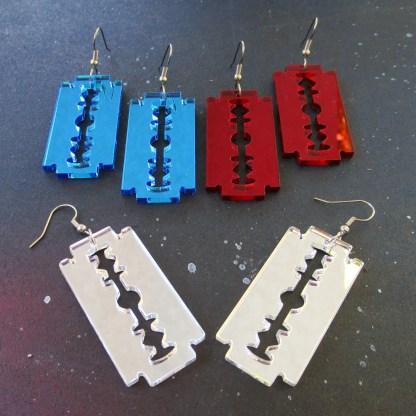 3 pairs of razor blade earrings