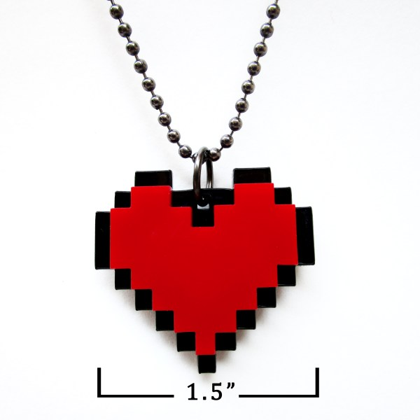 t Pixel Red Heart Necklace with measurements