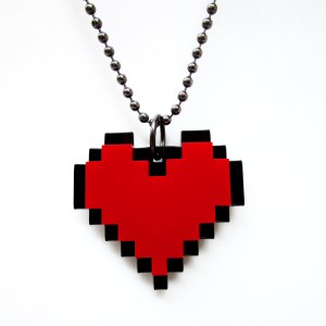 forward view of t Pixel Red Heart Necklace pendant
