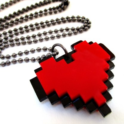 close picture of t Pixel Red Heart Necklace to show detail