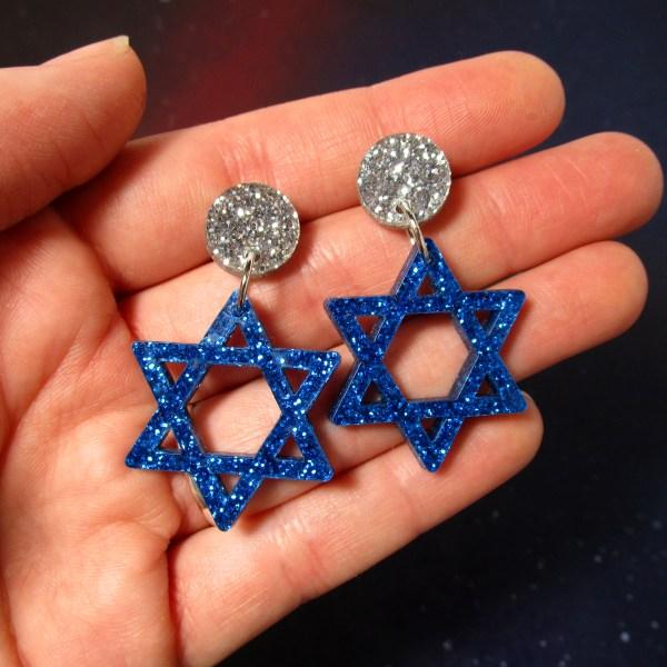 Festival of Lights star of david glitter blue earrings