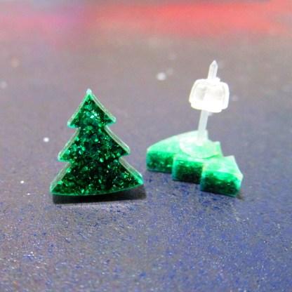 glitter green christmas tree stud earrings
