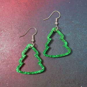 Glitter Green Christmas Tree Outline dangle earrings