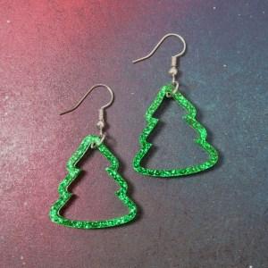 Glitter Green Christmas Tree Outline dangle earrings