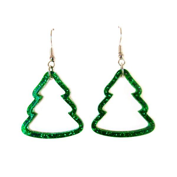Glitter Green Christmas Tree Outline earrings on white background