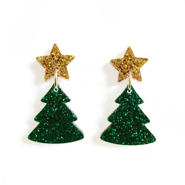 christmas tree earrings with glitter star stud earrings