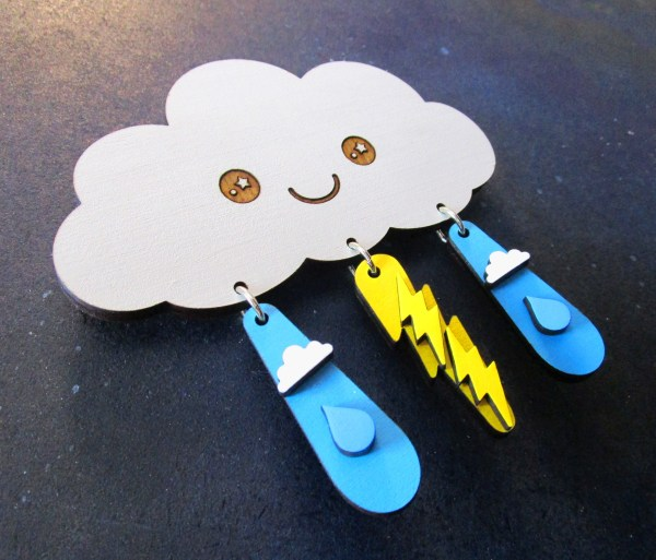 Kawaii Rain Lightning Cloud Jewelry Earrings Set Wall Hanging Decoration Gift Set