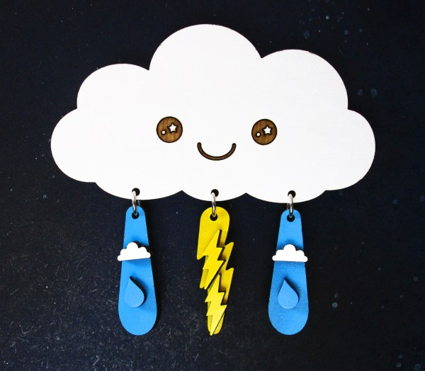rain cloud earring jewelry hanger with kawaii face