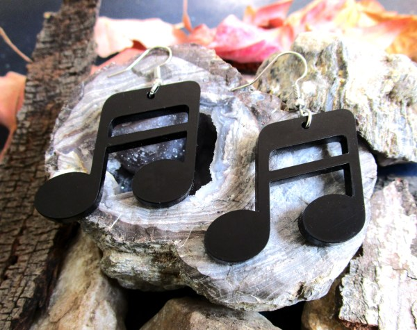 big black music note dangle earrings