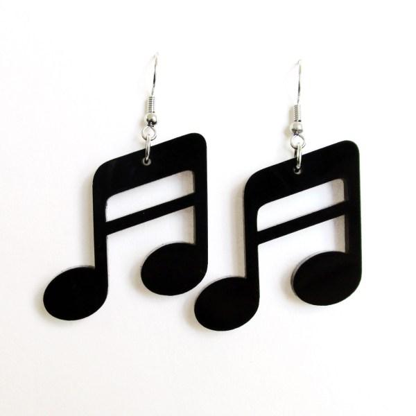 big black sixteenth note earrings
